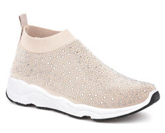 Alexa Studded Slip On Sock Trainer In Nude Trainers Miss Diva