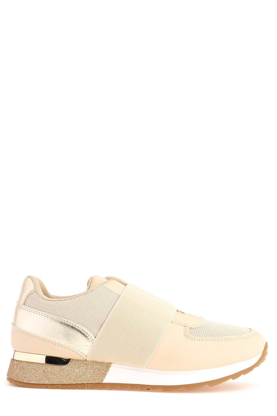 Meyeh Elastic Panel Gold Trim Trainer in Beige Trainers Miss Diva