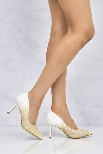 Kalara Two Tone Glitter Court Shoe in White