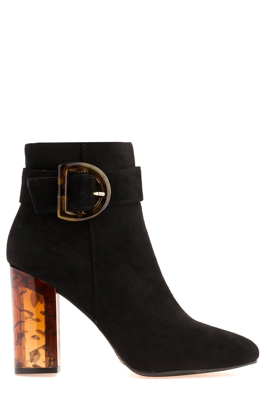 Coni D Buckle & Glass Heel Ankle Boot in Black