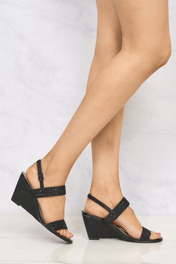 Zara Annabel Open Toe Diamante Wedge In Black