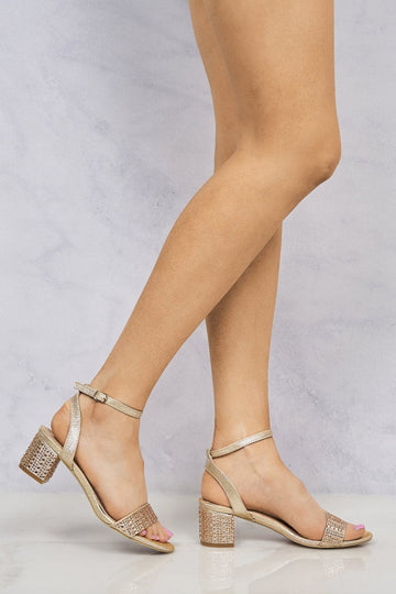 Kelly Diamante Stud Heel & Band Sandal in Champagne