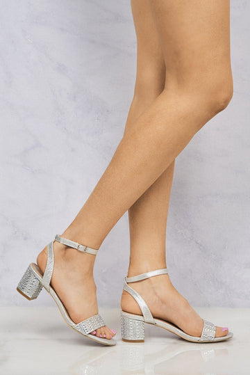 Tibby Diamante Stud Heel & Band Sandal in Silver