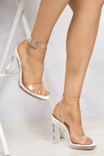 Perspex Anklestrap Flare Heel Sandal in White Patent