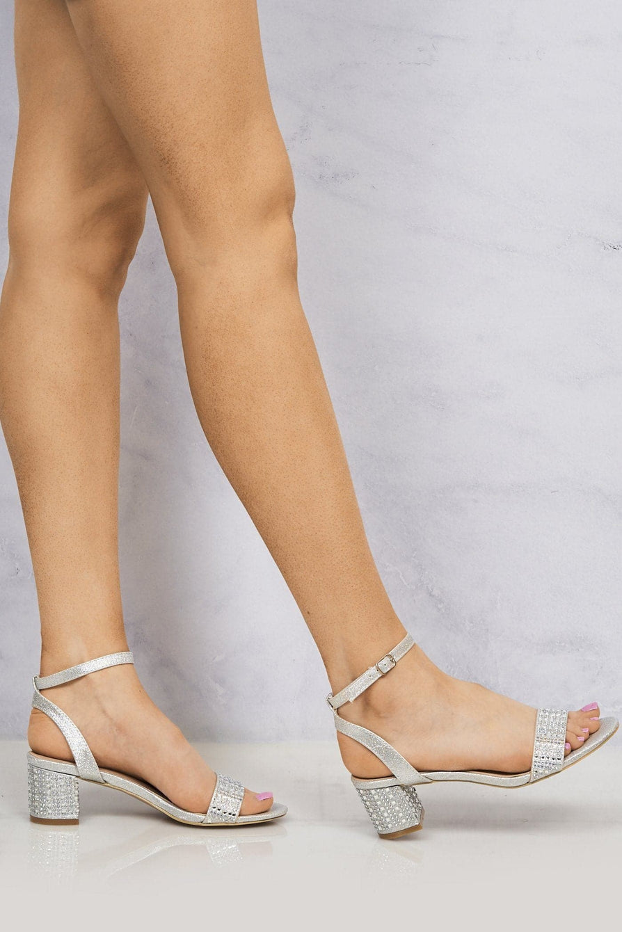 Diamante Stud Heel & Band Sandal in Silver