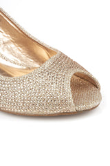 Peeptoe Diamante Wedge in Champagne