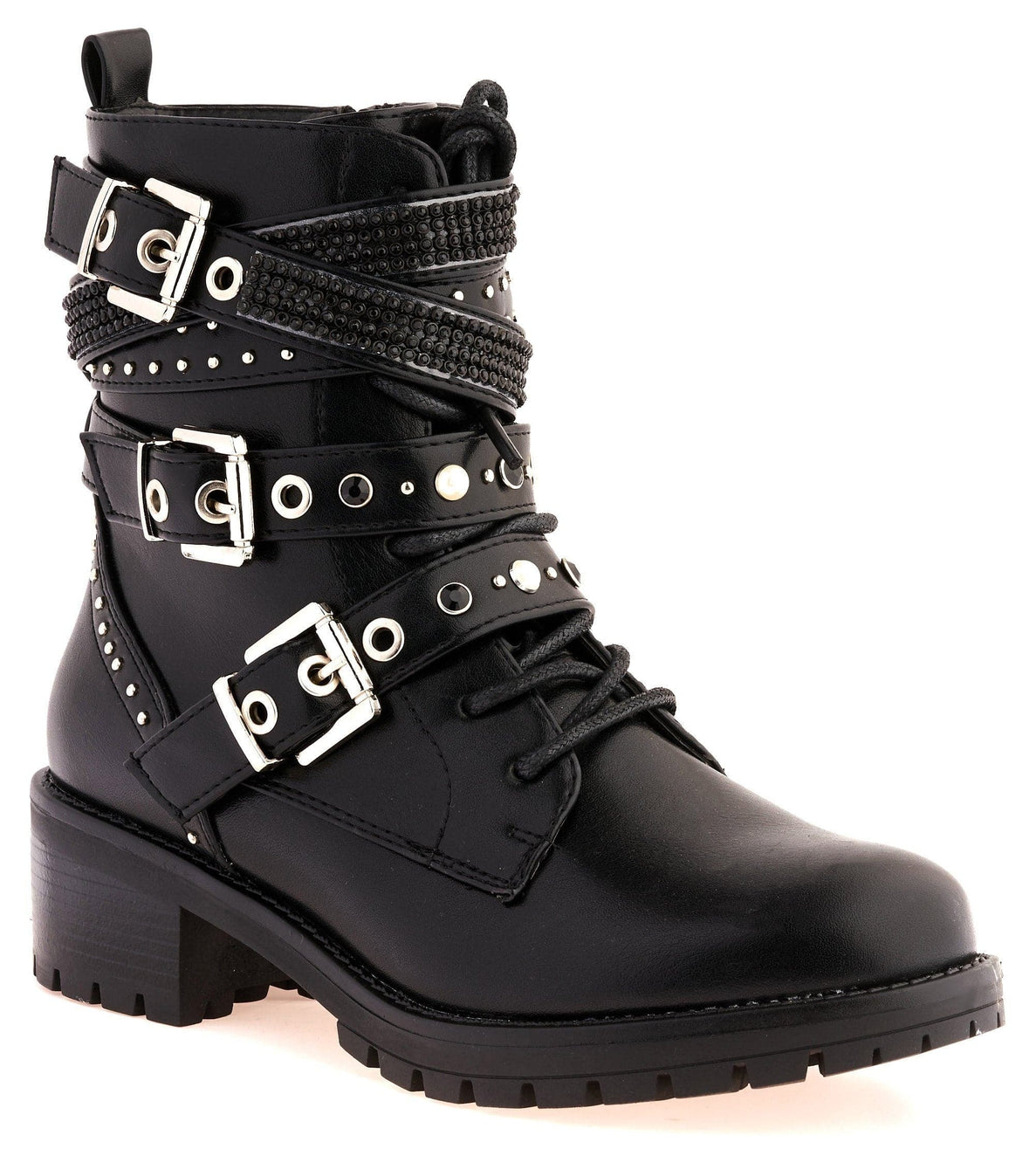 Hailey Diamante Crossover Laceup Biker Boot in Black Matt Boots Miss Diva
