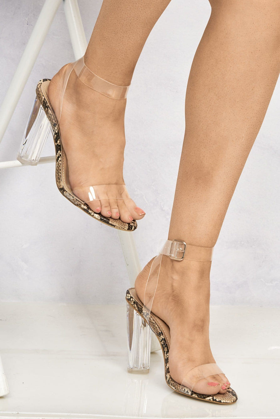 Gotta Clear Idea Block Heel Clear Strap Sandal in Snakeskin