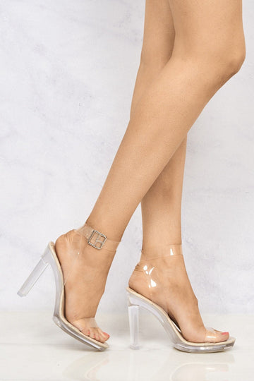 Perspex Anklestrap Flare Heel Sandal in Nude Patent