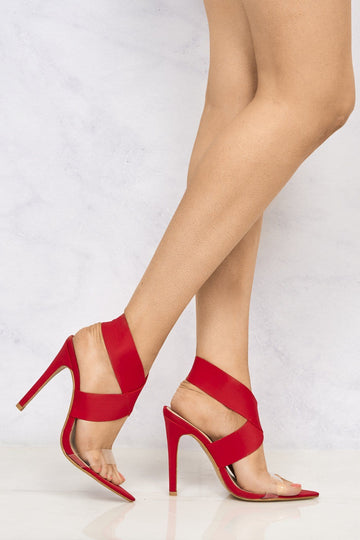 Pointed Perspex & Crossover Sandal in Red Lycra
