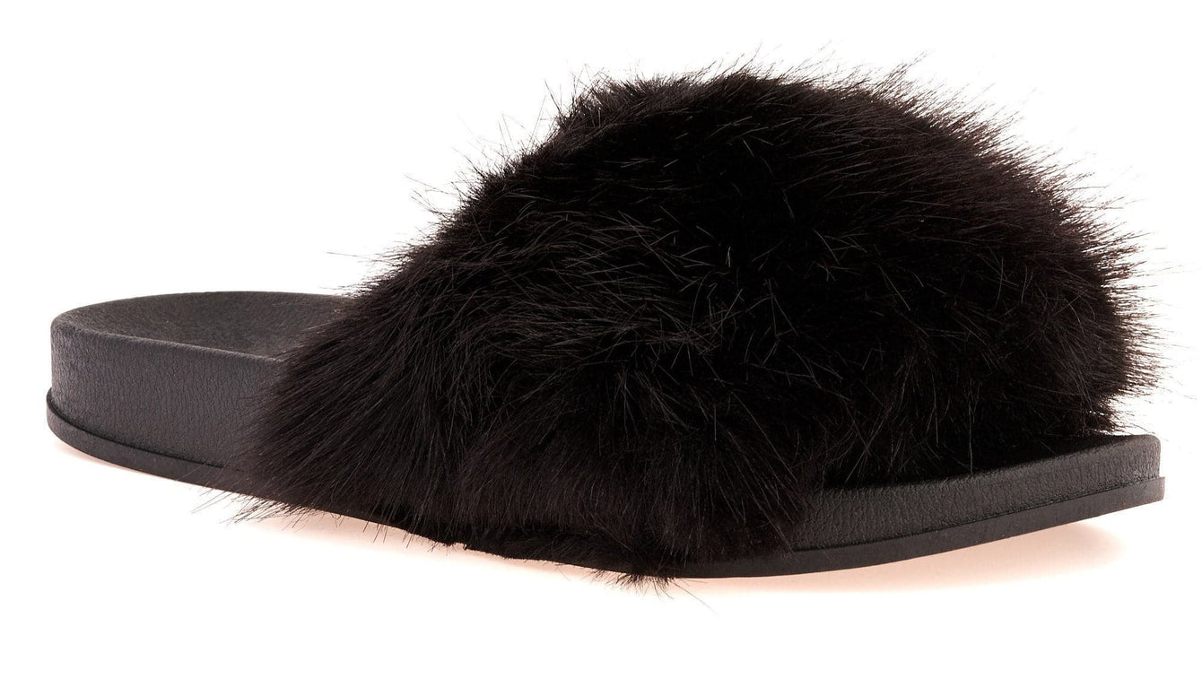 Toffee Fur Band Slider in Black