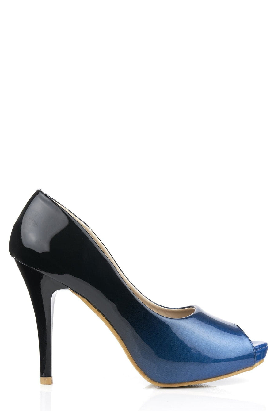 HoneyHoney Two Tone Peeptoe Shoe in Navy Clearance Miss Diva Navy 3