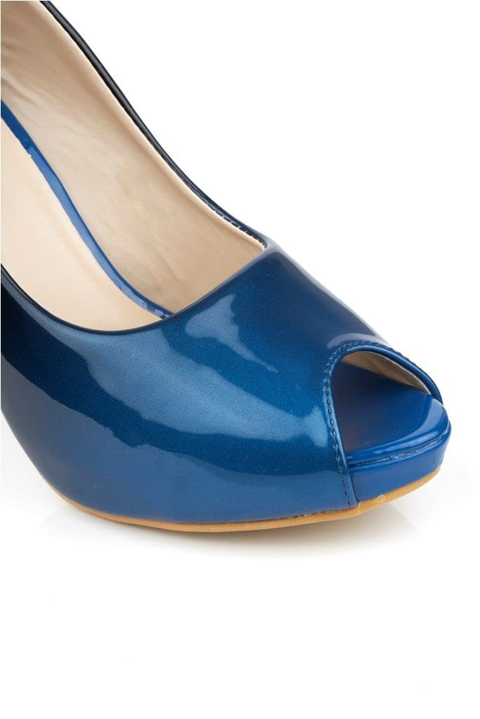 HoneyHoney Two Tone Peeptoe Shoe in Navy Clearance Miss Diva