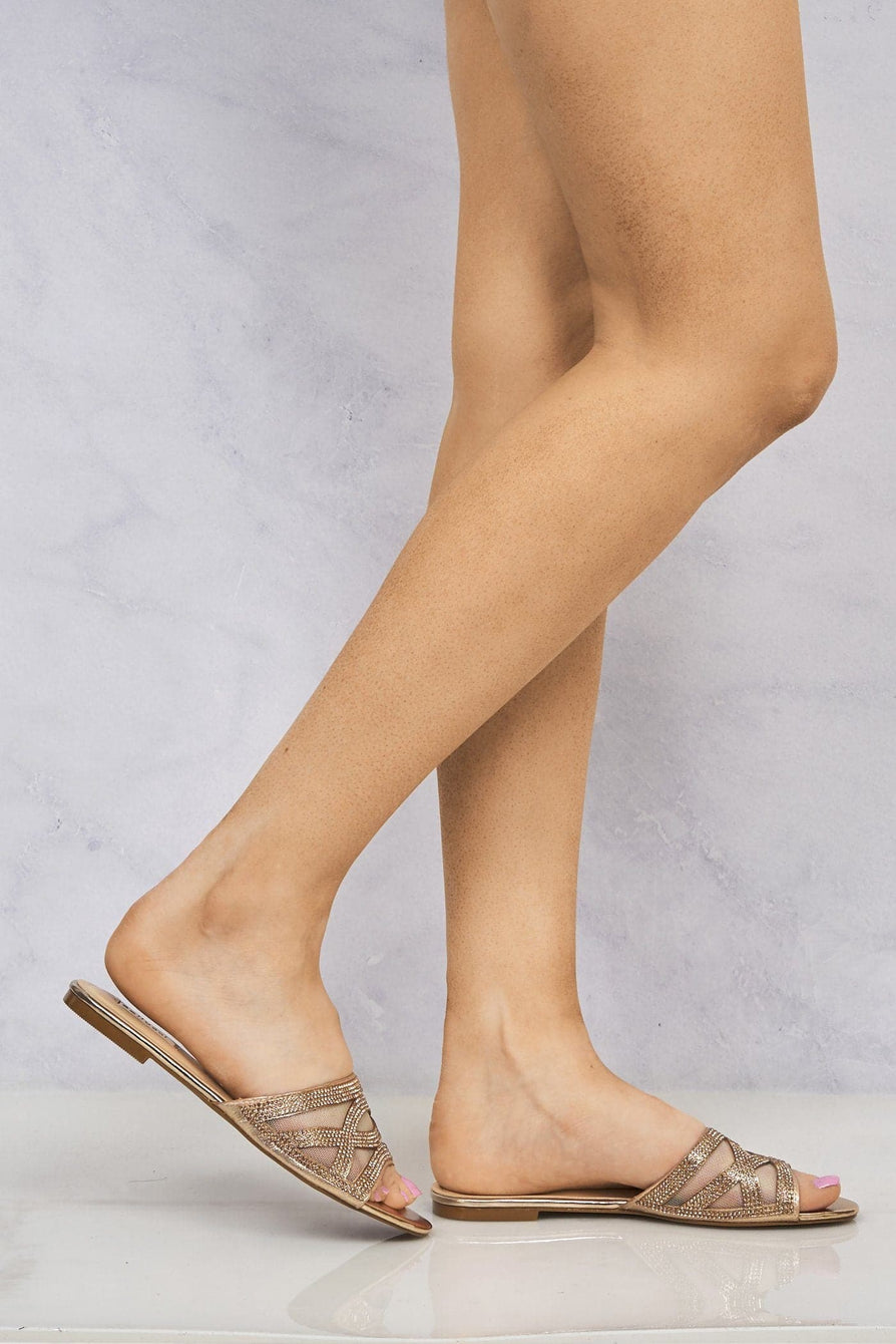 Yazie Crossover Diamante Mesh Flat Slider in Rose Gold Clearance Miss Diva Rose Gold 3