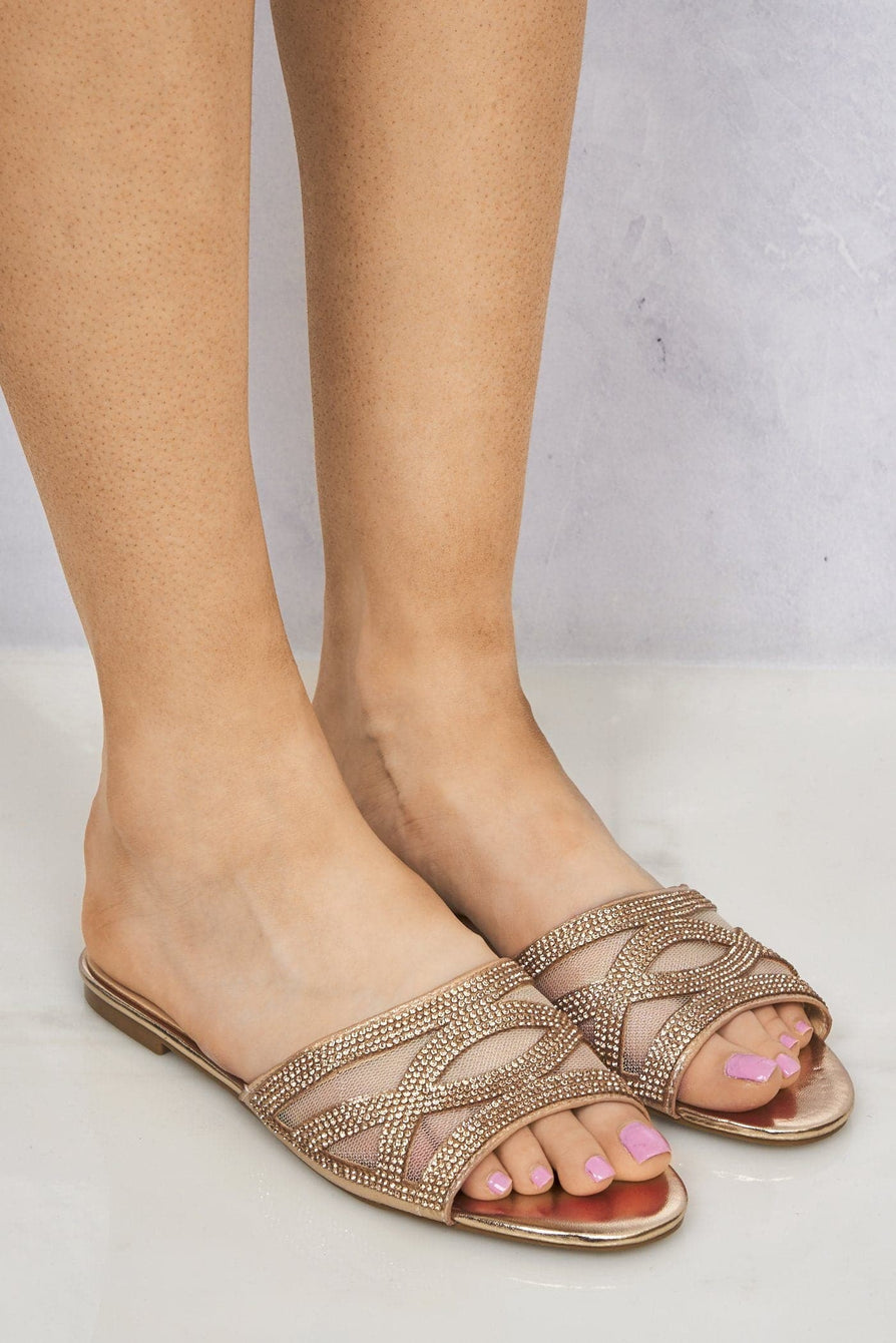 Yazie Crossover Diamante Mesh Flat Slider in Rose Gold Clearance Miss Diva