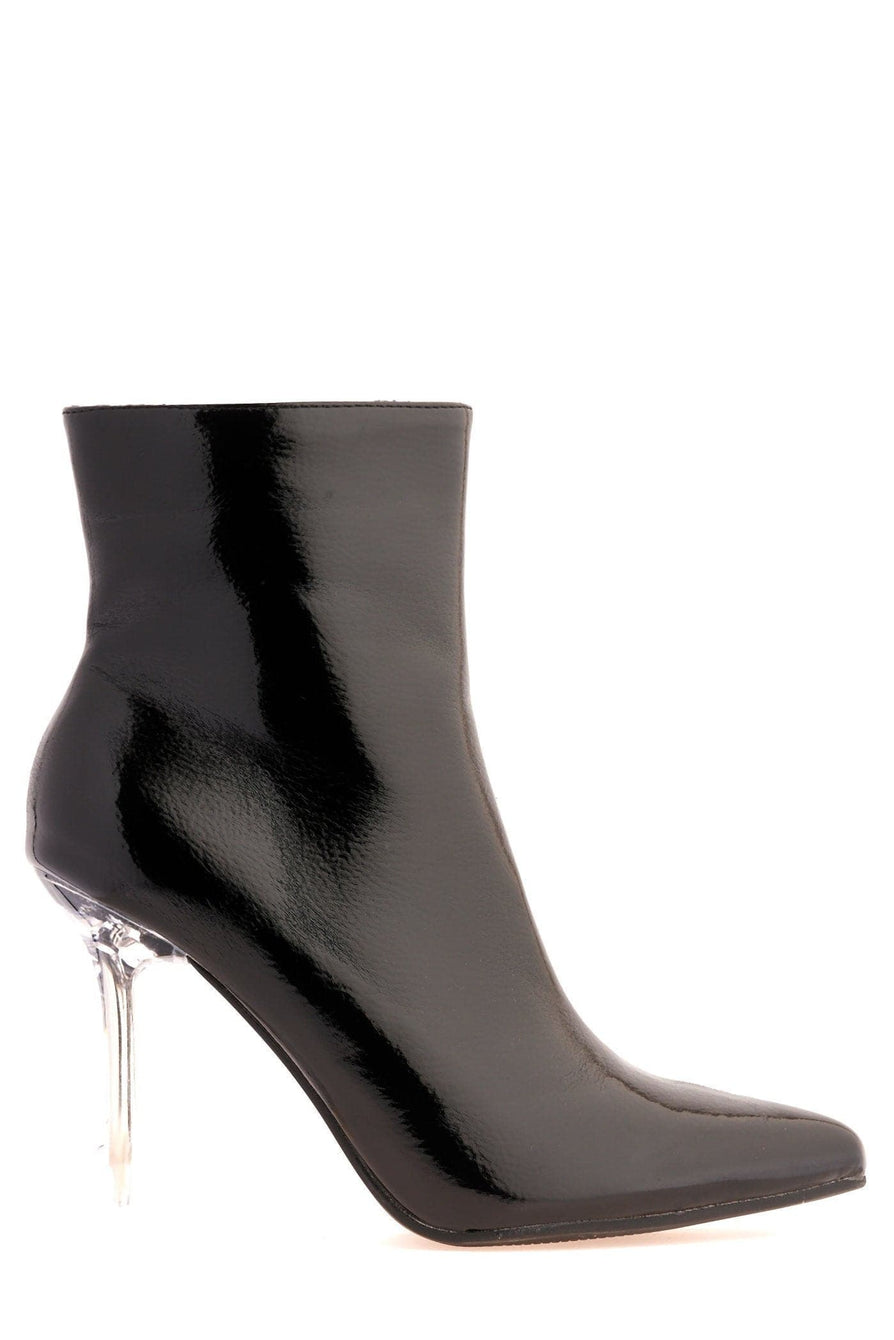 Mimi Pointed Toe Spool Heel Ankle Boot in Black Boots Miss Diva