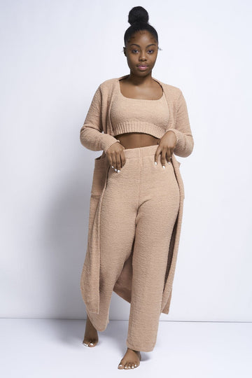 Nora Boucle knit Fuzzy 3PC  pieces co ord set in Tan
