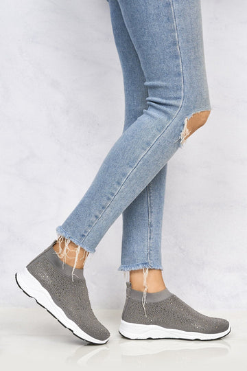 Studded Slip On Sock Trainer in Grey