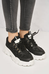 Baryl Chunky Sole Print Lace Up Trainer in Black