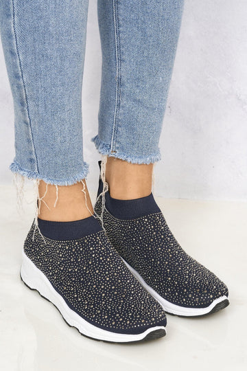 Studded Slip On Sock Trainer in Navy