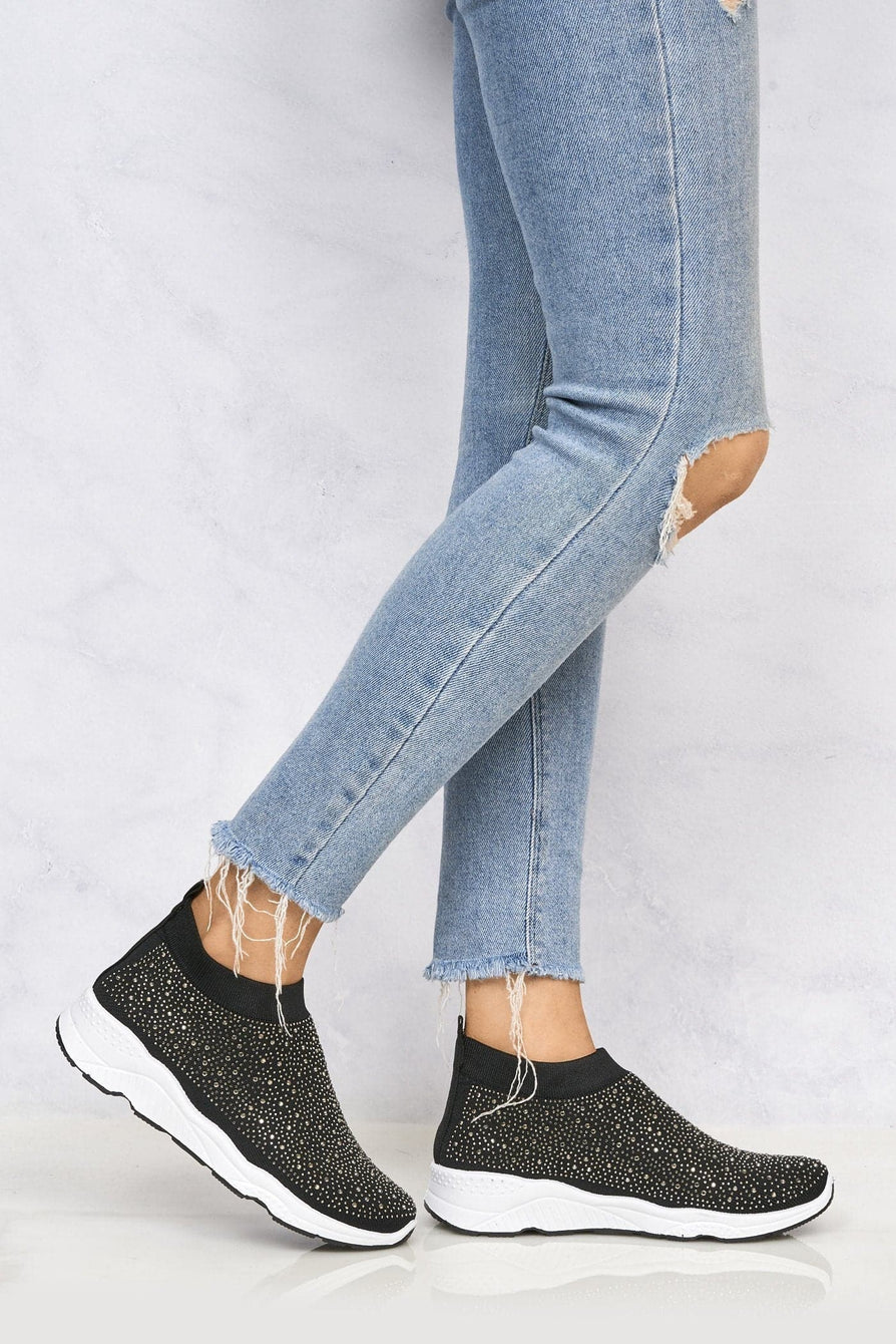 Alexa Studded Slip On Sock Trainer In Black