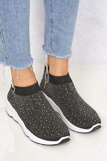 Studded Slip On Sock Trainer in Black