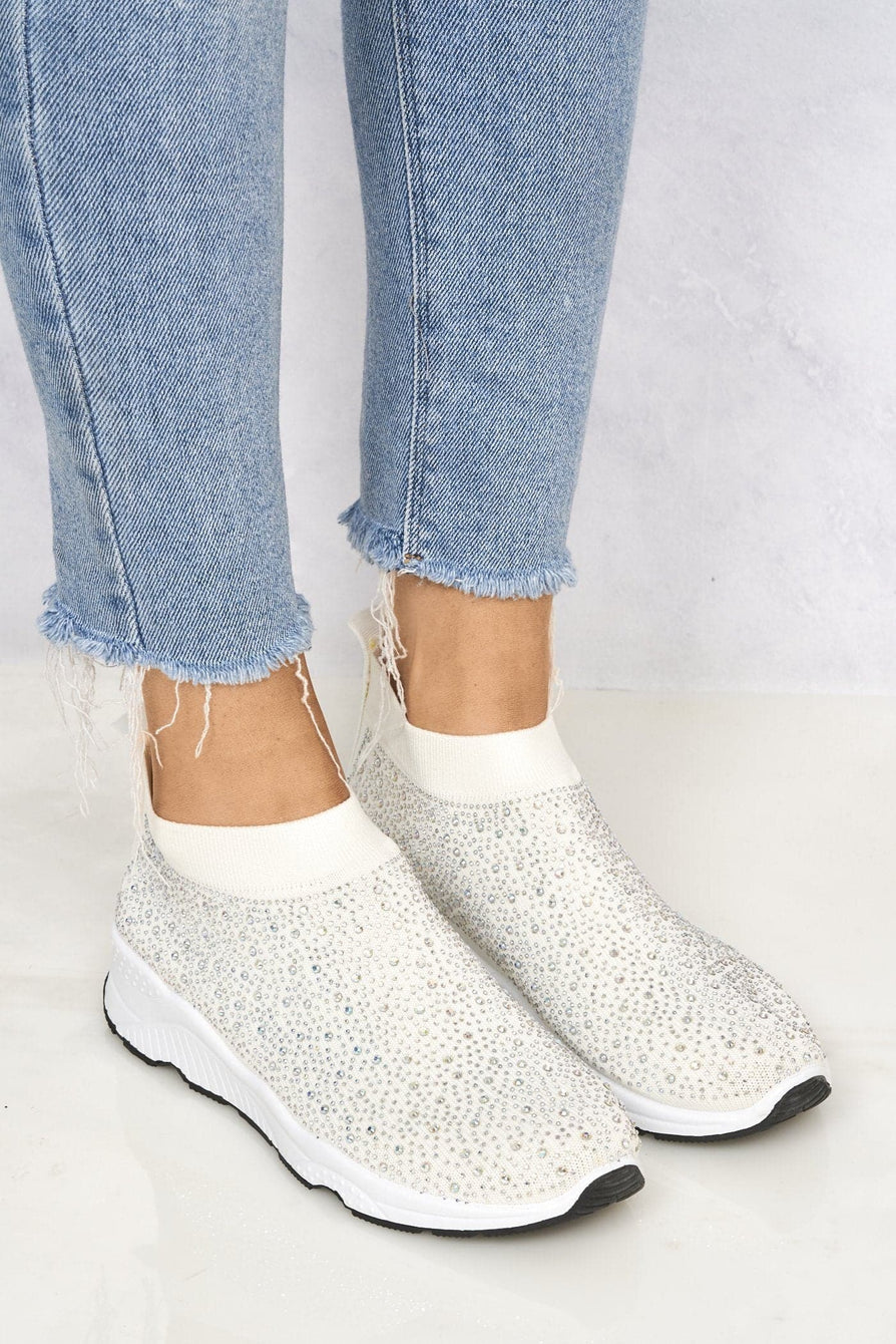 Studded Slip On Sock Trainer in White