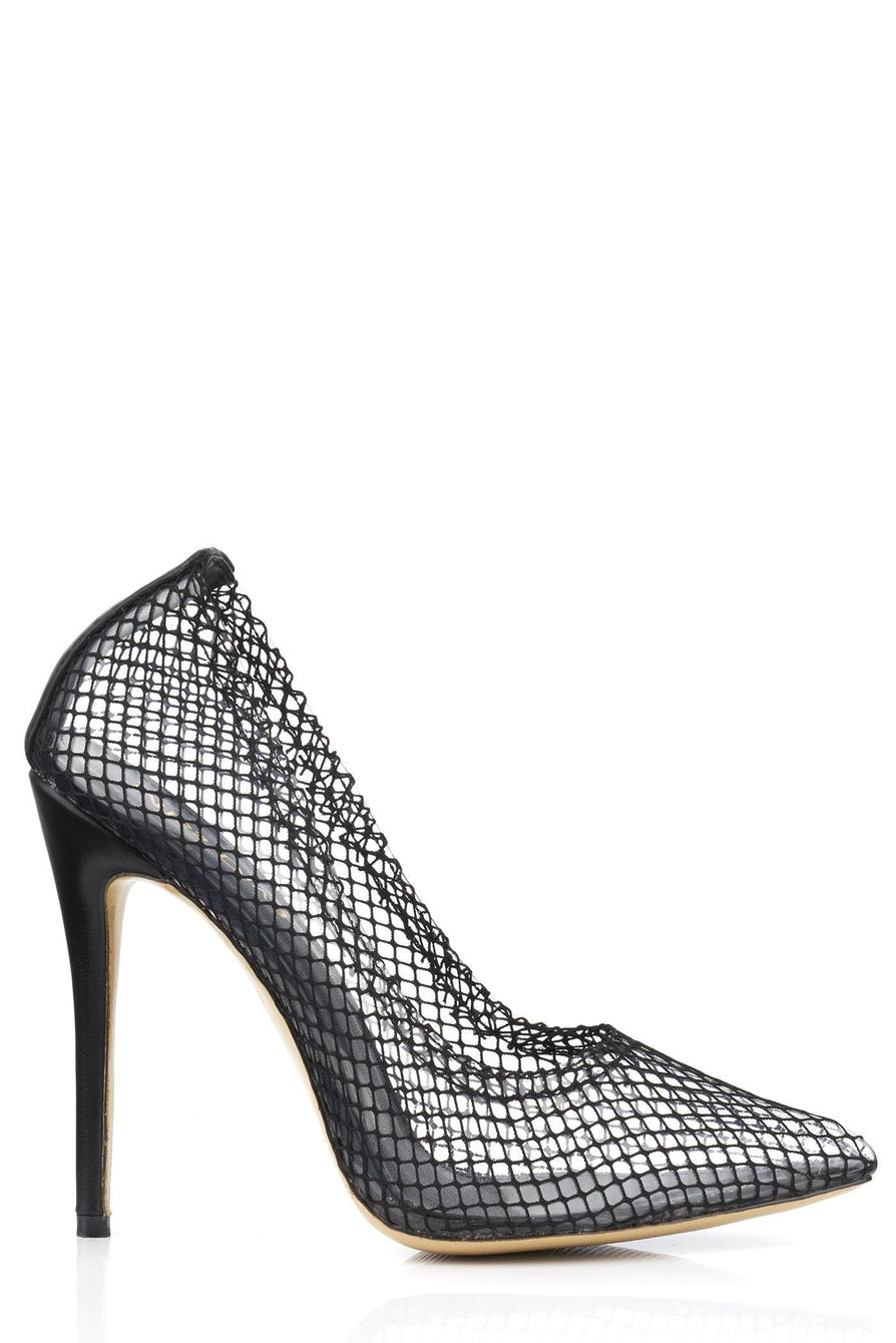 Fishnet/Perspex Sock Ankle Boot in Black