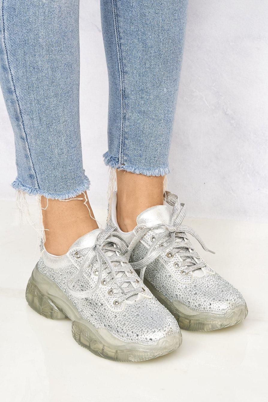 Extraa Clear Sole Diamante Lace Up Trainer In Silver