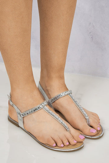 Eli Toepost T-Bar Triangle Diamante Sandal in Silver
