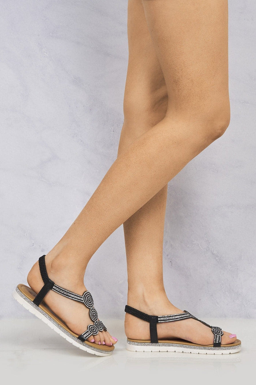 Oleah Diamante Sole & Circle Pattern Sandal in Black