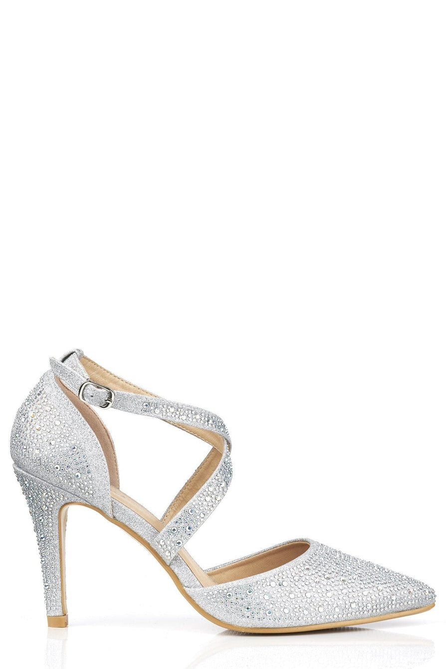 Crisscross Pointed Court Sandal in Silver