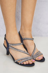 Magadelena Crossover Diamante Anklestrap Sandal in Navy