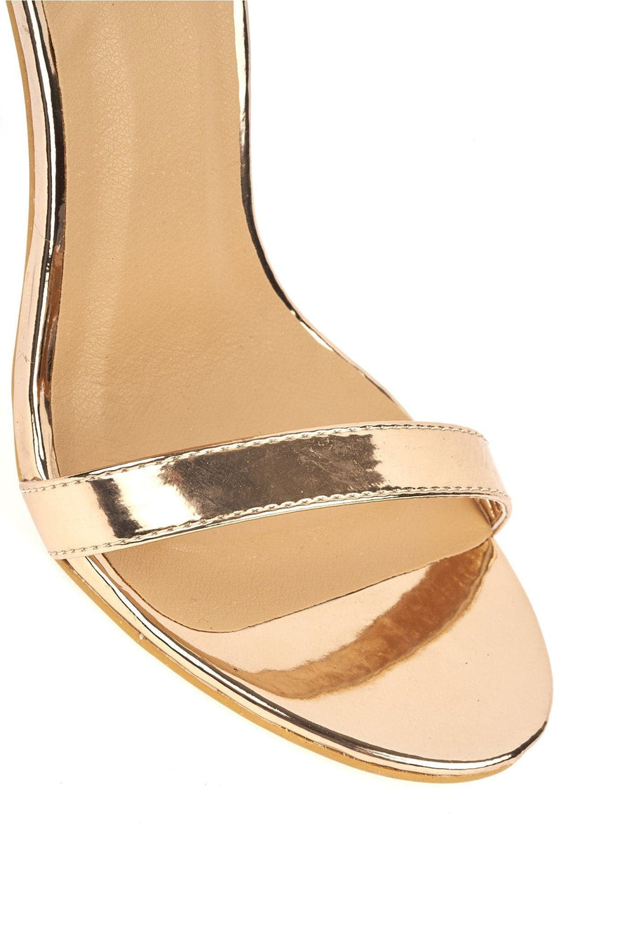 Arron ankle strap stiletto sandal in Rose Gold Heels Miss Diva