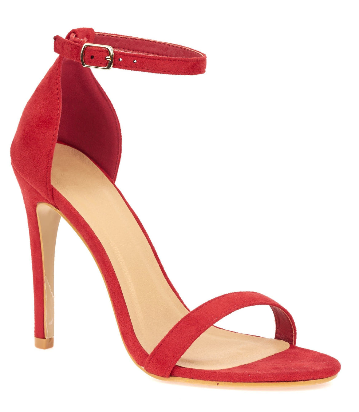 Arron Anklestrap Stilleto Sandal in Red Suede