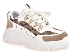 Baryl Chunky Sole Print Lace Up Trainer in Beige