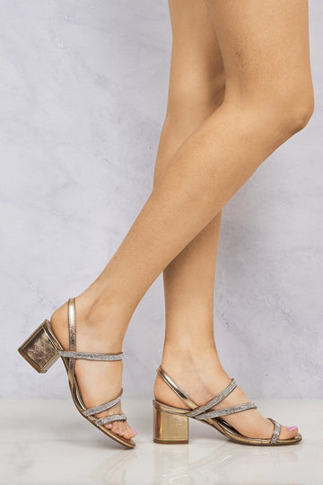Kelly Crisscross Diamante Block Sandal In Rose Gold