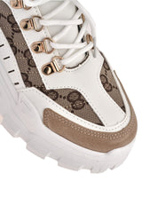 Baryl Chunky Sole Print Lace Up Trainer in Beige Trainers Miss Diva