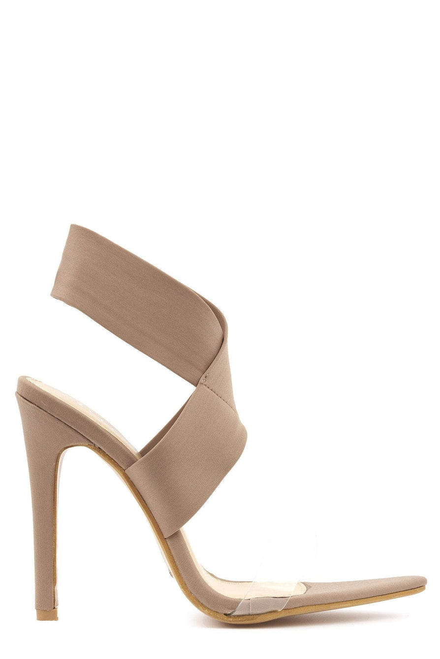 Pointed Perspex & Crossover Sandal in Mocha Lycra