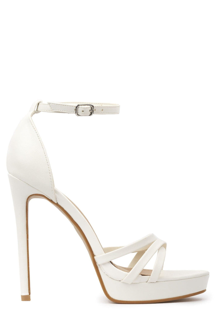 Amelia Crossover Strap Platform Sandal in White Patent