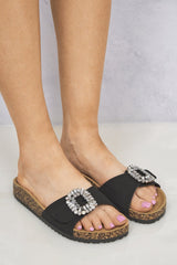 Diamante Broach Birkenstock Slider in Black