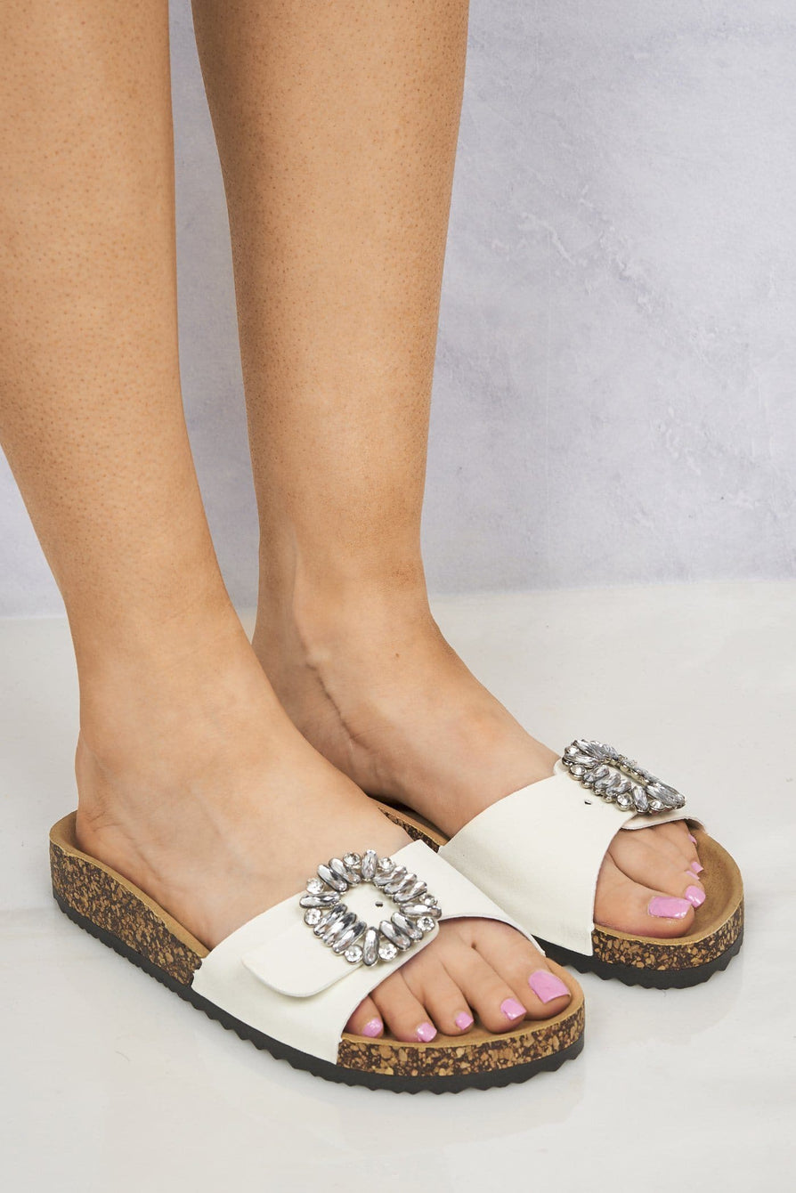Diamante Broach Birkenstock Slider in White