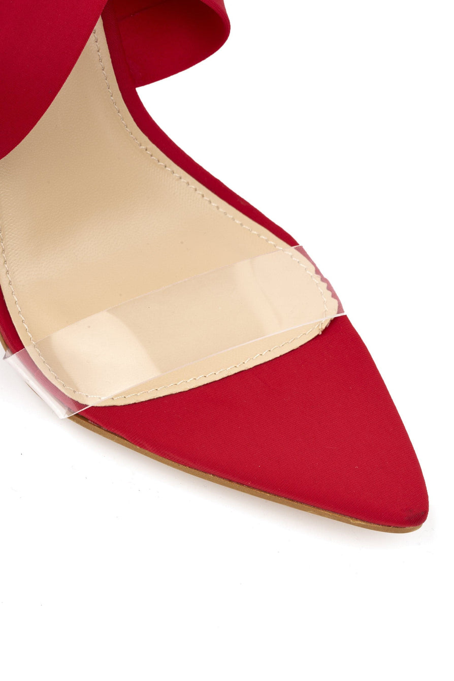 Penny Pointed Perspex & Crossover Sandal in Red Lycra
