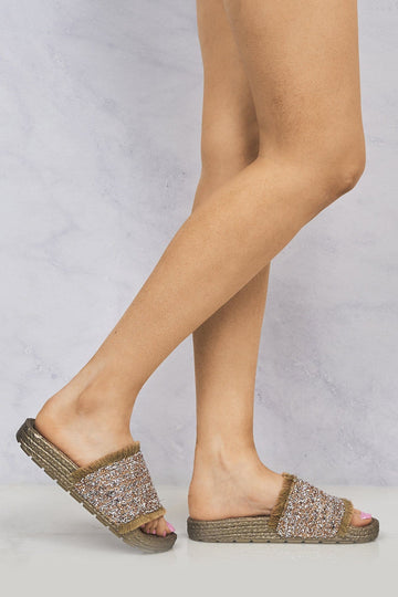 Peanut Bead Diamante Espadrille Slider in Gold