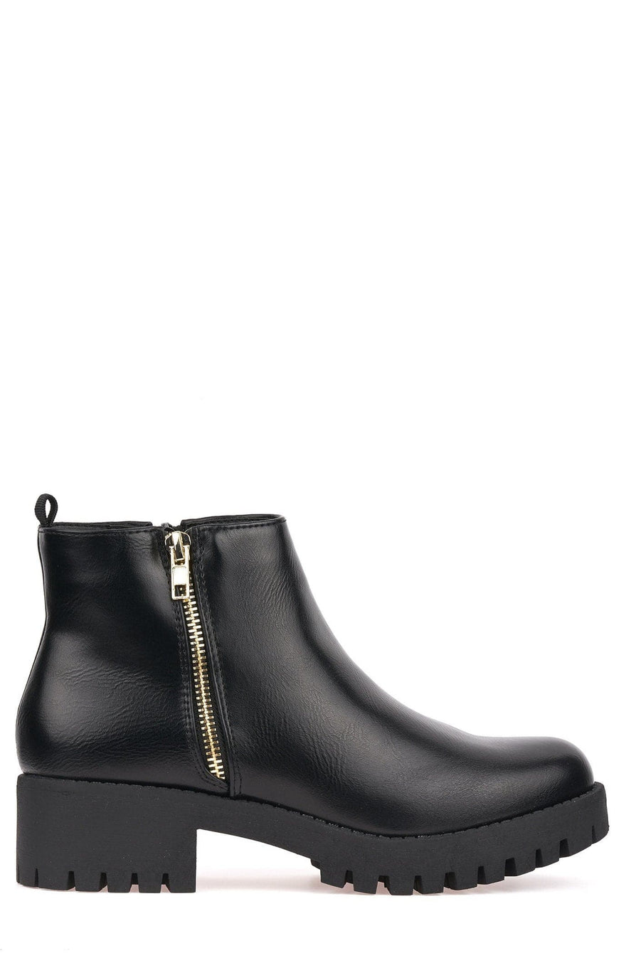 Side Zip Cleated Sole Ankle Boot in Black Pu