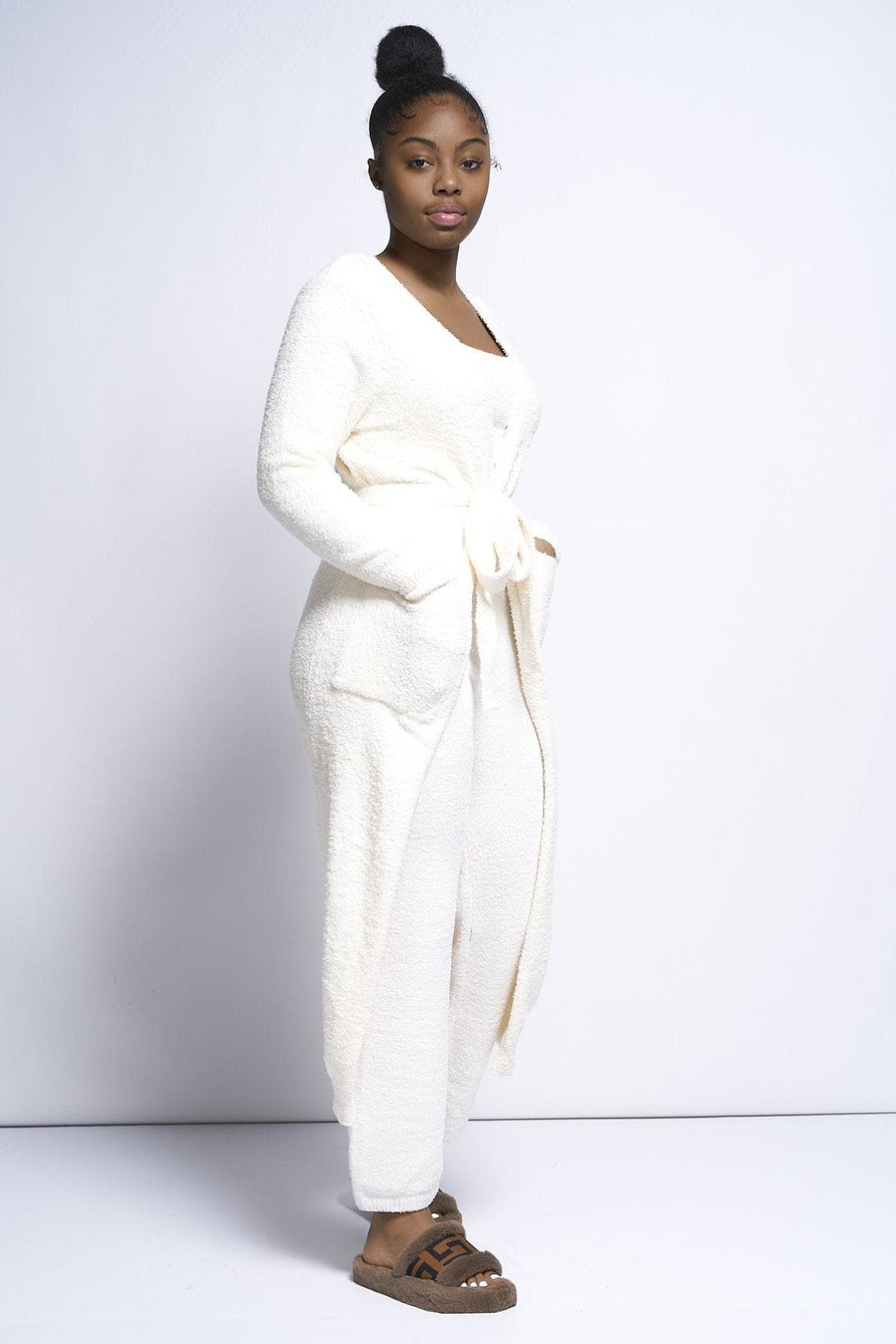 Nora Boucle knit Fuzzy 3PC pieces co ord set in Cream Loungewear Sets Miss Diva