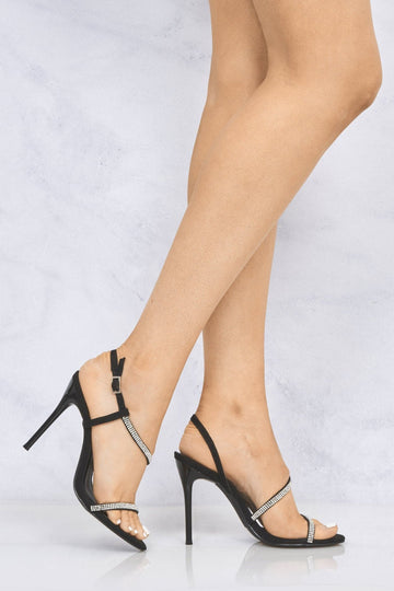 Savannah Anklestrap Diamante High Heel in Black Suede