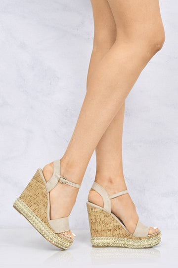 Sydney Flat Stud Sole Anklestrap Wedge in Nude Suede