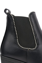 Summit Ball Stud Detail Ankle Boot in Black Matt