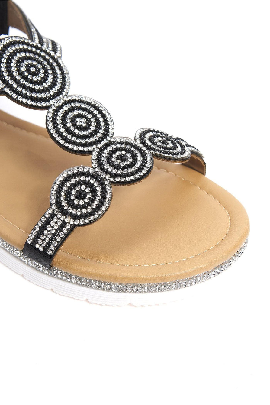 Oleah Diamante Sole & Circle Pattern Sandal in Black Sandals Miss Diva